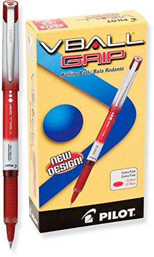 Pilot VBall Grip 35511 balpen, vloeibare inkt, fijne punt, blauw, 2 stuks Dozen Box (0.5mm - Extra Fine) rood