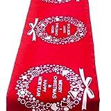 Joocyee - Mantel de Navidad de Lino de algodón Suave con Estampado Floral, decoración de Cocina, Mantel de Mesa con Estampado de Lino de algodón de Navidad Creativo, Guirnalda roja, como se Muestra