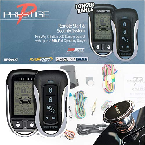 Prestige APS997Z Two-Way LCD Command Confirming Remote Start/Keyless Entry and Security System with up to 1 Mile Operating Range + Magnet