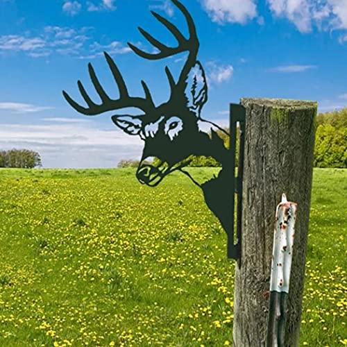 LIAOTI Peeping Animal Metal Art- Steel Silhouette Modern Artwork Wall Decor, Farm Peeking Cattle Metal Art for Terrace Backyard Lawn Decoration Statue (Deer)