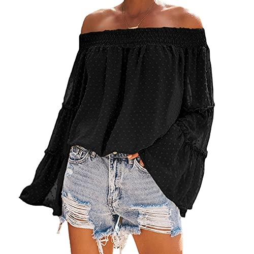 Mayntop Camiseta para mujer para tops de gasa con hombros descubiertos y manga acampanada, A-negro, 42