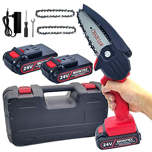 Montex Mini Chainsaw 4 Inch Cordless Protable Chainsaw 0.7kg Lightweight with Carry Case, Features LED Lights With 2 Pcs Battery and 3 Pcs Chain Pruning Shears Chainsaw for Tree Branch Wood Cutting