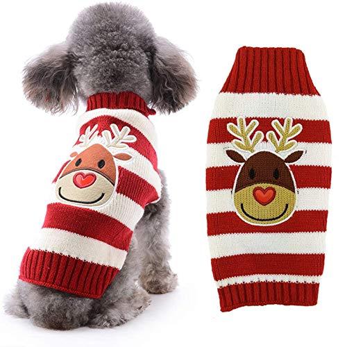 ABRRLO - Jersey de Navidad para perro, diseño de muñeco de nieve, reno de Papá Noel, copo de nieve, regalo de año nuevo, para cachorros, gatos, perros pequeños, medianos y grandes (reno rojo, XL)