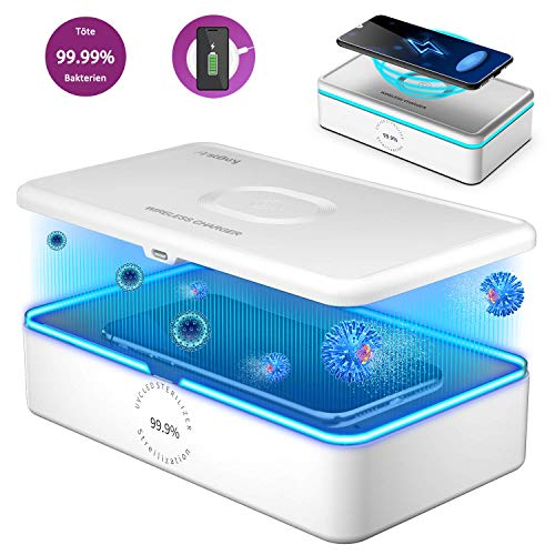 Firstbuy UV Sterilisator Kabelloses Ladegerät Desinfektionsbox mit 8 Lampenperlen Schnelle Sterilisation 99,9%