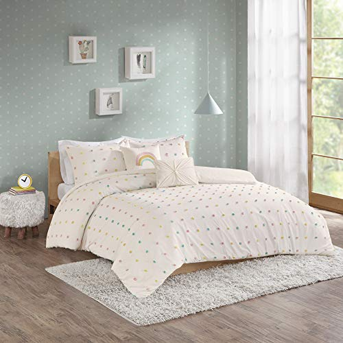 Urban Habitat Kids Callie Comforter Reversible 100% Cotton Jacquard Weave Colorful Poms Dots Soft Overfilled Down Alternative Hypoallergenic All Season Bedding-Set, Full/Queen, Multi