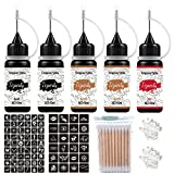 Temporary Tattoo Set, 5Pcs with Three Colors, 78 Pcs Adhesive Stencil (2Black, 2Brown ,1Red)