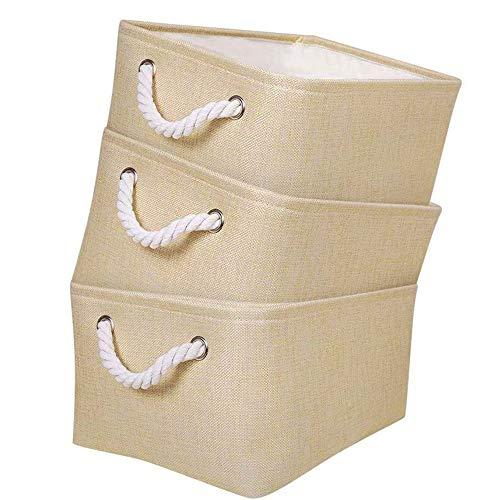 Mangata Faltbare Stoff Aufbewahrungsboxen, Leinwand Aufbewahrungskörbe für Bücher DVDs Spielzeug, Schule Home Closet Storage Office Storage, 3er Pack (Beige, Small)