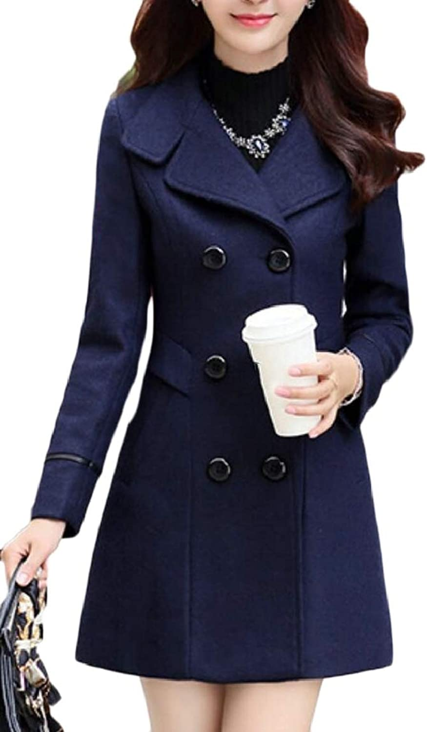 LKCENCA Women Overcoat Double Breasted Casual Pea Slim Fit Wool Blend Trench Coat