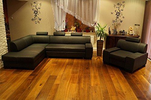 Quattro Meble Hoekbank Londen I 3z 200 x 260cm met fauteuil Lederen meubelen Sofa Bank met bedfunctie, bedlade en hoofdsteunen zwart echt leer Hoek bank grote keuze aan kleuren