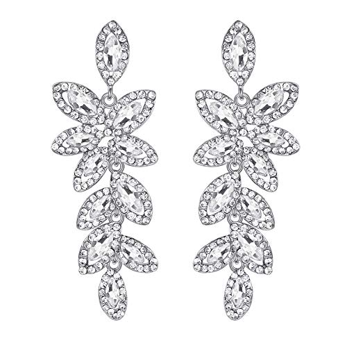 mecresh Leaf-Shape Wedding Earring for Brides Silver/Champagne Rhinestone Wedding Fine Jewelry
