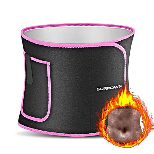 SURPOWN Premium Bauchweggürtel Damen & Herren, Waist Trainer Damen Fitness, Verstellbarer Schlankheitsgürtel, Beschleunigender Schweißgürtel, Neopren Nano Silber Einfach zu reinigen Rosa-L