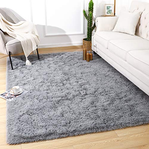 Quenlife Soft Bedroom Rug, Plush Shaggy Carpet Rug for Living Room, Fluffy Area Rug for Kids Grils Room Nursery Home Decor Fuzzy Rugs with Anti-Slip Bottom, 3 x 5ft, Grey