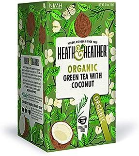 Heath & Heather Té Verde y Coco Orgánico, 40g, caja de 20 sobres