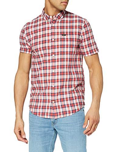 Lee Button Down Camicia, Rosso Aurora, L Uomo