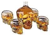 Grande decantatore del viso del cranio con 4 bicchieri da cranio da cranio - per uso della testa della testa del cranio per un whisky, il vetro da 750ml Decanter 300ml Vodka Shot Glass decanter per wh