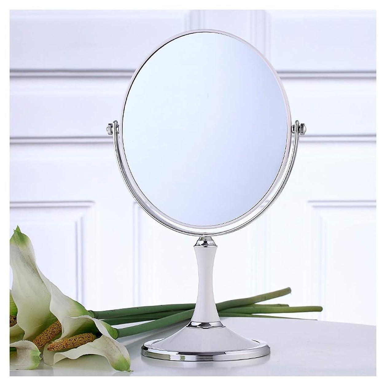令状編集する直立化粧鏡3x倍率デスクトップオーバル360°回転HD両面プリンセスミラートラベルポータブル屋内バニティミラー(白)(サイズ:32.5 * 16.7cm)