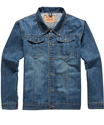 ATOUR Men's Big&Tall Denim Trucker Jacket Plus Size Regular Fit Blue 5XL