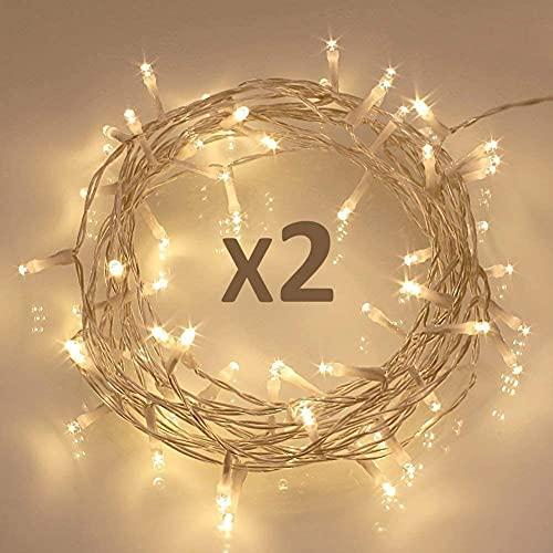 Koopower 40 LED ljusslingor, batteridriven med timerfunktion för jul Xmas, IP65 vattentät – varmt vitt paket med 2