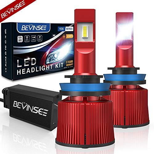 Bevinsee H11/H9/H8 LED Headlight Fog Light 100W 15000LM White Bulbs Kit-VC Cooling Tech,2pcs