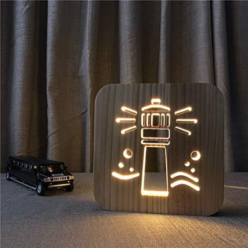 Leuchtturm Thema 3D Holzlampe LED Nachtlicht Home Room Decoration Kreative Tischlampen für Kinder Geschenk