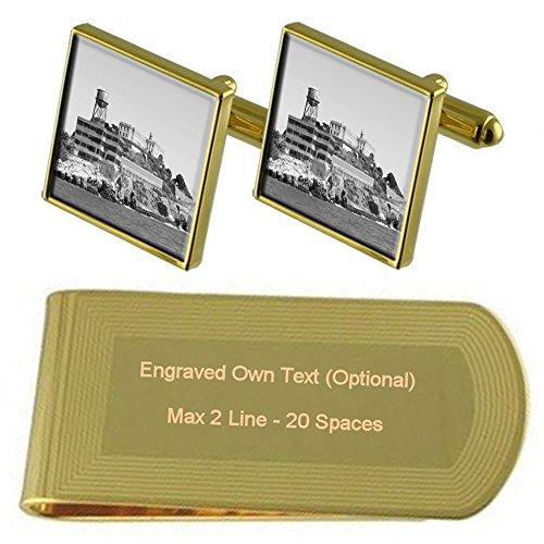 Select Gifts Alcatraz Gefängnis Gold-Manschettenknöpfe Geldscheinklammer Gravur Geschenkset