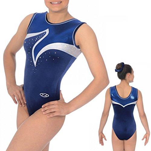 The Zone Z368VIV - Maillot de gimnasia sin mangas, cuello redondo, color azul marino, tamaño 30