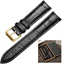 Premium Smart-Watch Band Strap Top Grain Genuine Real Leather Replacement Belt Wristband Buckle for Men Women Quick Release Bracelet by CHAMPLED (Solid Black Strap - Golden Color Buckle, 22mm)