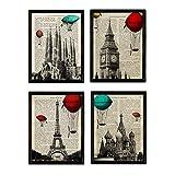 Nacnic Set de 4 láminas de Ciudades. Londres, Barcelona, Moscú, París. A4. con Marco