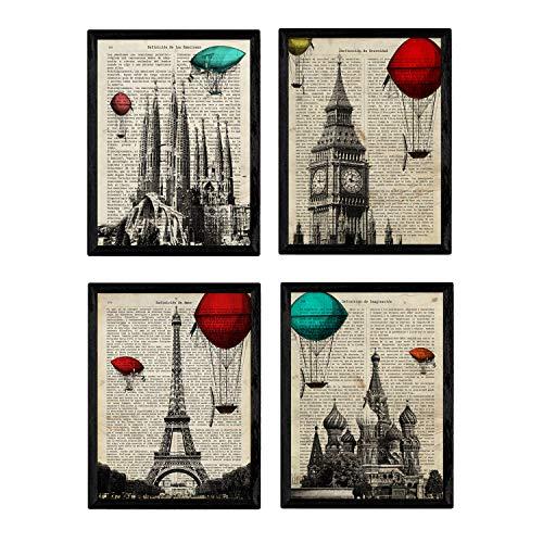 Nacnic Set de 4 láminas de Enciclopedia Vintage con Ciudades Europeas para Viajar. Londres, Barcelona, Moscú, París. A4. Sin Marco.