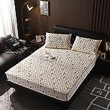 XGguo Protector de colchón - Protector de colchón antialérgico Sábana Gruesa de una Sola Pieza Antideslizante-3_120 × 200cm