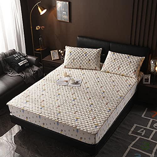 XGguo Protector de colchón - Protector de colchón antialérgico Sábana Gruesa de una Sola Pieza Antideslizante-3_150 × 200cm