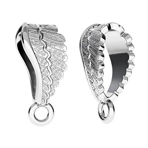 Doe-het-zelf hangerlussen, 3 stuks, 14 mm, engelenvleugels, 925 sterling zilver, nikkelvrij hangertje in juwelierskwaliteit