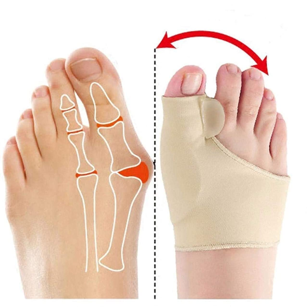 Dyong Thumb Toe Corrector Big Toe Straightener Toe Pain Relief Sleeve、Bunion Splint Support Sleeve with Built-in Silicone Gel Pad for Hallux Valgus Pain Relief