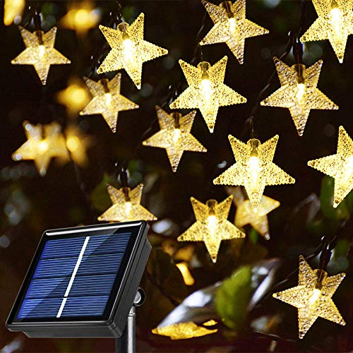 Windpnn Solar String Lights Outdoor, Solar Powered Star String Lights, 30ft 50LED 8 Modes Waterproof Christmas String Lights for Gardens Patio Landscape Xmas Tree Decorations(Warm White)