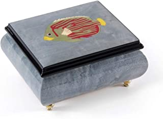 Tropical Fish Wood Inlay Light Blue 18 Note Musical Jewelry Box - Over 400 Song Choices - Feliz Navidad