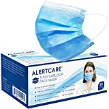 ALERTCARE 50 Pack Disposable Face Masks with Elastic Earloops, Breathable 3 Layer Protective Face Covering, Comfortable Face Mask for Adults Indoor or Outdoor