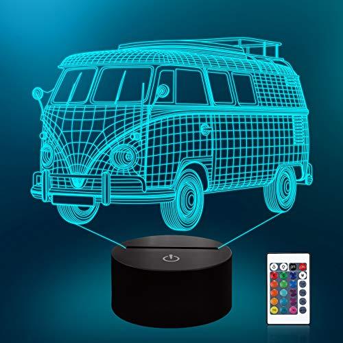 CooPark Autolampe 3D Nachtlicht für Kinder mit Remote & Smart Touch 7 Farben + 16 Farben für von dimmbaren Autospielzeugen 1 2 3 4 5 6 7 8 Jahre alte Jungen- oder Kindergeschenke