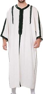 GaoYunQin Hommes Casual Caftans Musulman Saoudien Thobe Col en V Peignoir Manche Intermédiaire Robes Amples Chemise de Nui...