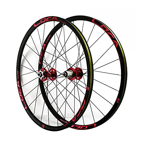LICHUXIN Bicycle Front and Rear Wheels 26/27.5/29 in Alloy Rim MTB Bike Wheelset 24H Disc Brake 7-12 Speed Quick Release for Bike Parts (Color : Red-1, Size : 26in)