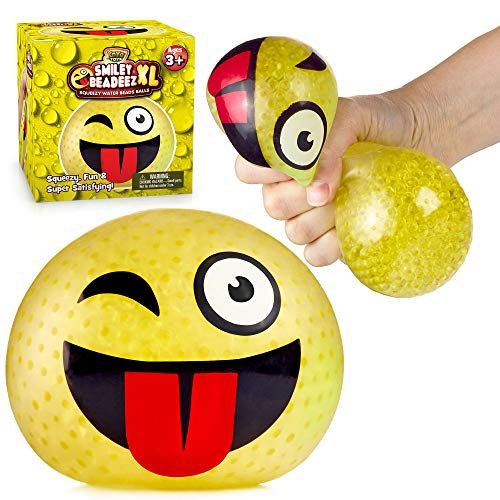 Smiley Beadeez XL Winking Stress Ball for Kids and Adults with Squishy Water Beads, Extra Large Stress Relief Sensory Toys for Autistic Children, ADHD, Anxiety, Birthday Party Favors