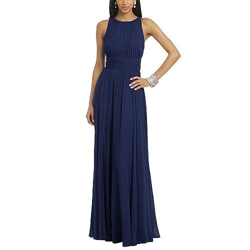 cbfabf3e7e4 Uther Women Fashion Pleated Chiffon Sleeveless Floor Length Evening Prom  Dress