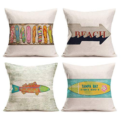 Aremazing Throw Pillow Covers Florida Summer Ocean Beach Theme Cotton Linen Cushion Cover Colorful Flip Flops Surfboard Fish Pattern Decorative Pillow Case for Sofa Couch 18''x18'' Set of 4