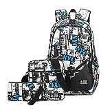 Mioy Tres piezas set adolescentes mochilas escolares lona estampados mochila Hombres 15 Pulgadas ordenador portatil backpack (Blanco)