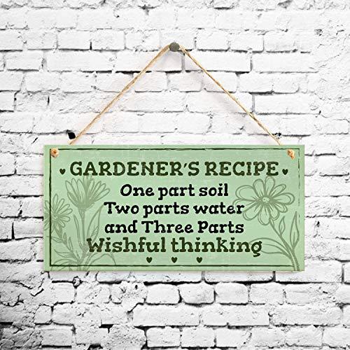 Losea Gardener's Recipe Wood Plaque Sign 5' x 10'...