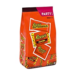 Each bag includes snack size Reese's outrageous candy bars, Reese's pieces crunchy candy, Reese's Peanut Butter Cups stuffed with Reese's pieces Candy Approximately 50 pieces of candy Perfect for everyday snacking, festive tailgating, and handing out...