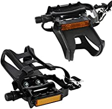 MIZOMOR Bike Pedals with Clips and Straps Aluminum Bike Pedals 9/16 Bike Pedals Durable Bike Pedals with Toe Clips Spin Bike Pedals Platform Pedals for Mountain Bike Outdoor Indoor Easy to Install