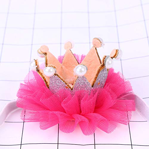 Lurrose 1Pc Kroon Hoofddeksels Kant Mooie Parel Hoofdstuk Haaraccessoires Haarband Headdress voor Kinderen Kleine Meisjes Zilver