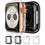 Mocodi 4 Pack Case for Apple Watch Series 6/5/4/SE Screen Protector 44mm,Soft TPU HD Clear Ultra-Thin Overall Protective Cover Case for Men Women iWatch Accessories