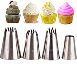 FantasyDay Cake Decorating Set, 4 Pieces Stainless Steel Piping Nozzles Tips Kit - Christmas Birthdays Anniversary Wedding DIY Icing Nozzle Tool for Cupcakes Cakes Cookies Dessert Pastry Making Tools