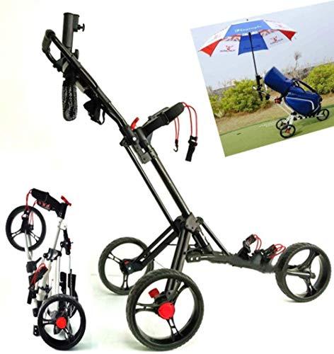 Aggiorna Il Carrello da Golf a Spinta/trazione Manuale del Carrello da Golf a 3 Ruote con Carrello portaombrelli e Carrello da Golf in Alluminio Pieghevole-Nero Uptodate